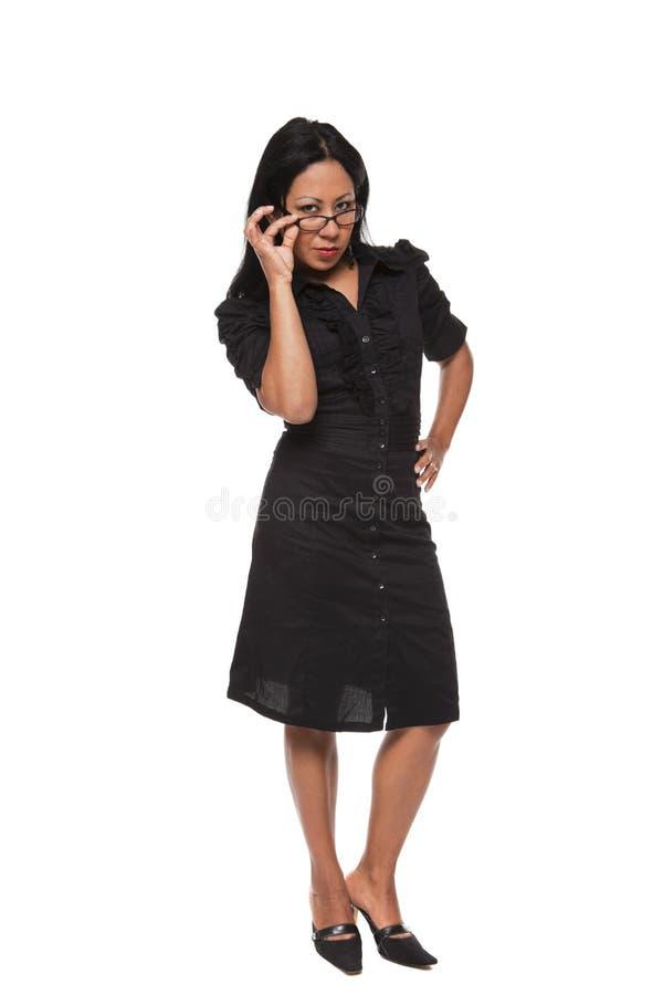 Donna di affari - Latina severa immagini stock libere da diritti