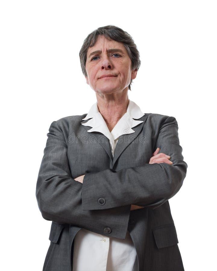 Donna di affari matura arrabbiata immagini stock libere da diritti