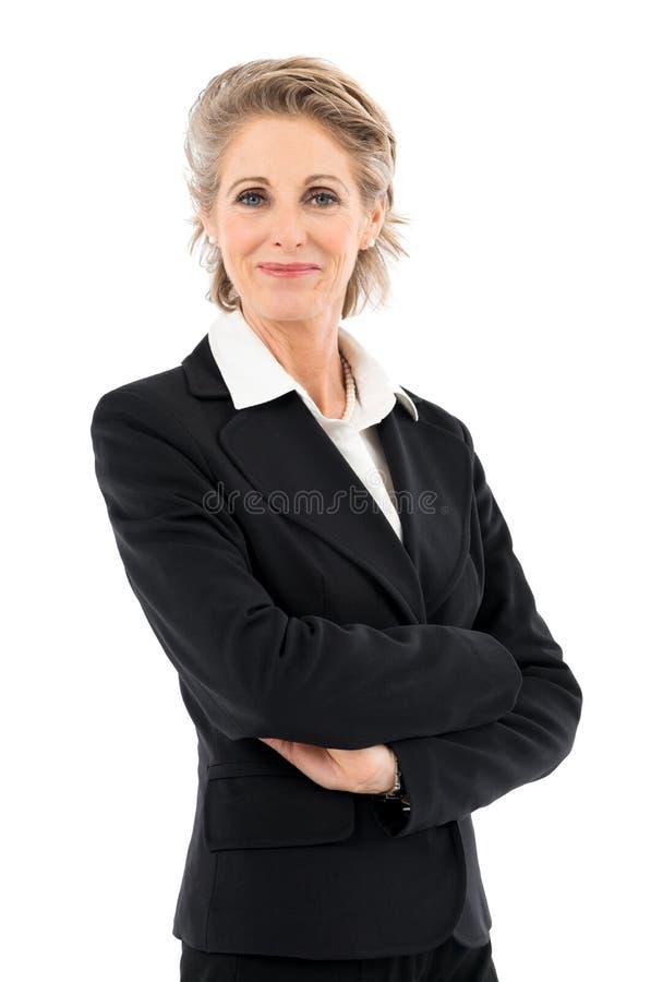 Donna di affari matura soddisfatta immagini stock libere da diritti