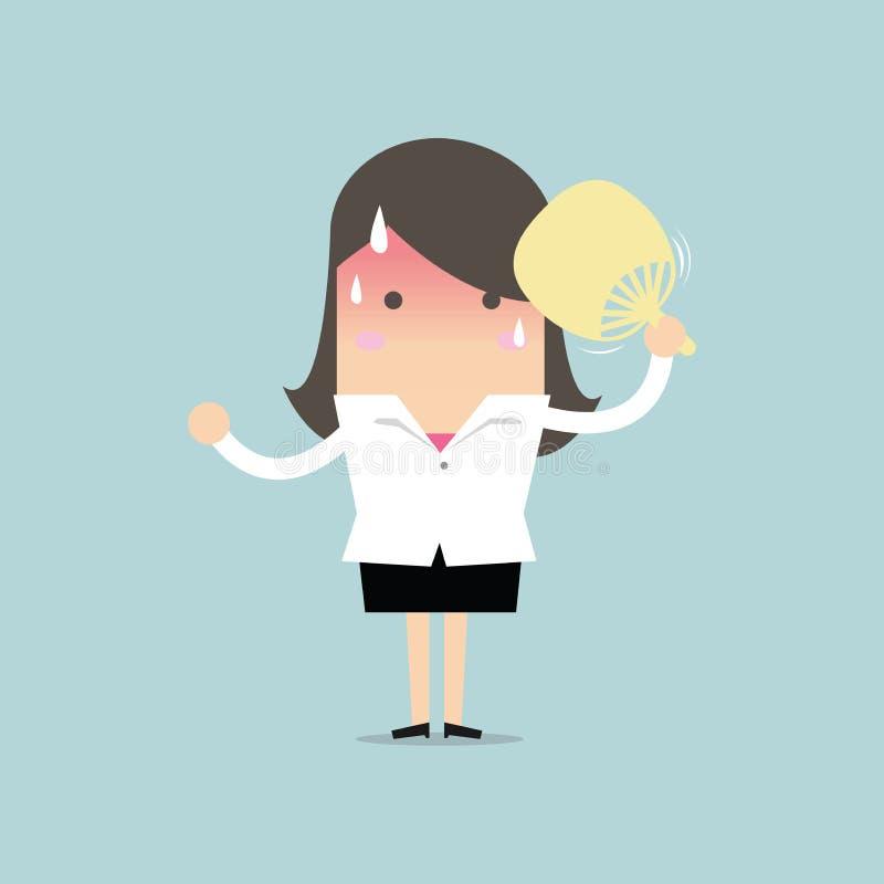 Donna di affari molto calda con il colpo del ventaglio illustrazione di stock