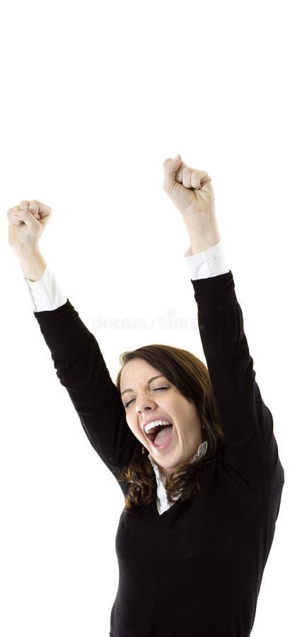 Donna di affari molto felice ed emozionante fotografie stock