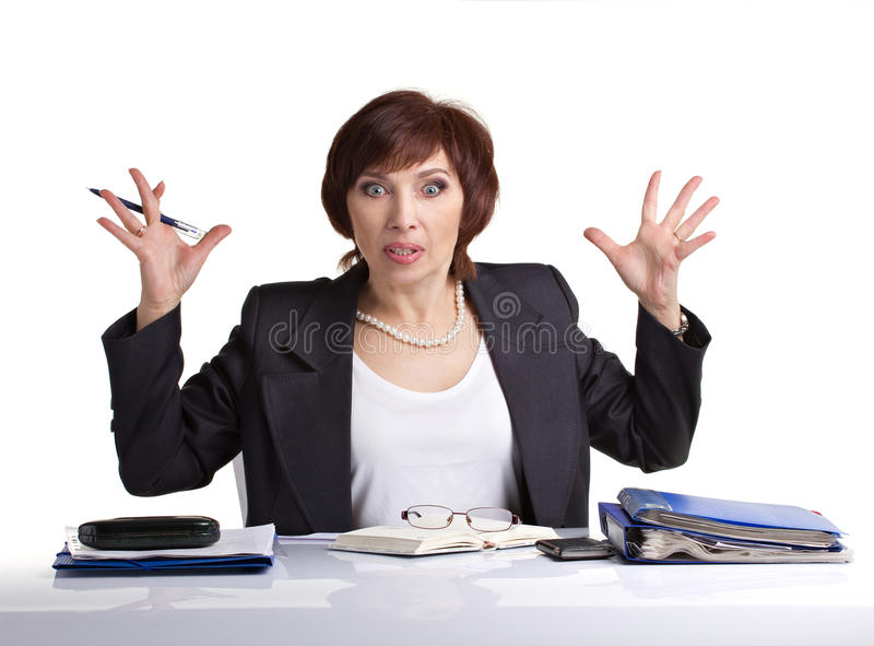Donna di affari nello sforzo fotografia stock