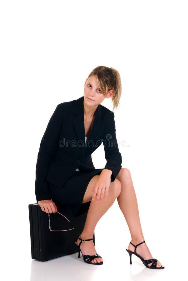 Donna di affari Pensive immagine stock