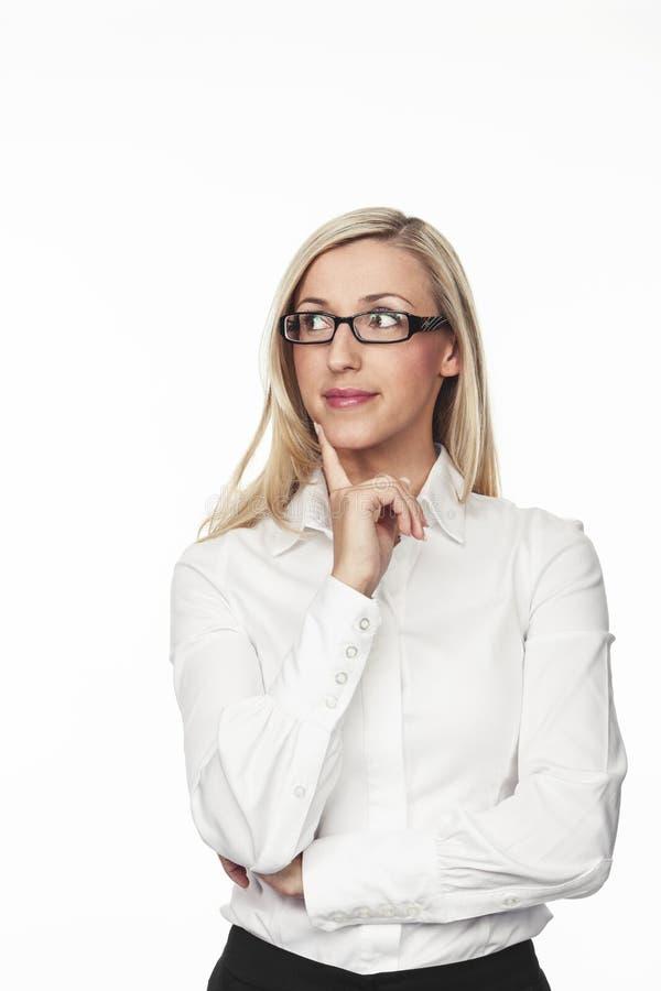 Donna di affari premurosa Against White Background fotografie stock