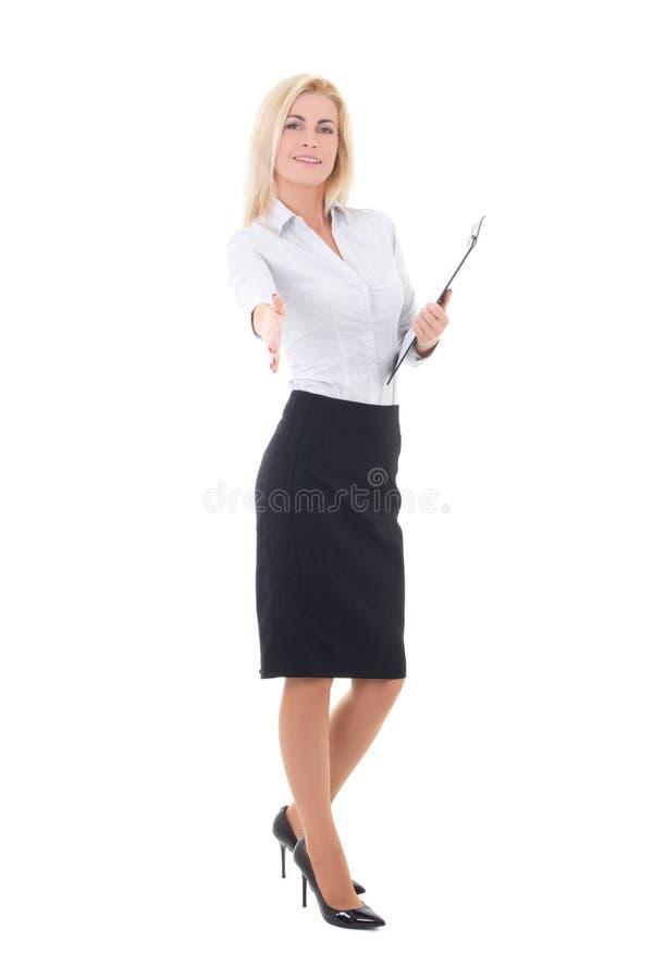Donna di affari pronta alla stretta di mano isolata su bianco immagini stock