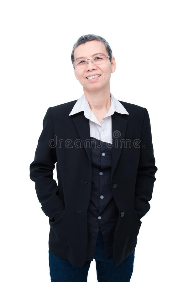 Donna di affari senior che sorride sopra il bianco fotografia stock