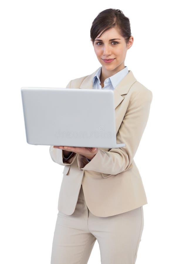 Donna Di Affari Sicura Con Il Computer Portatile Immagine Stock