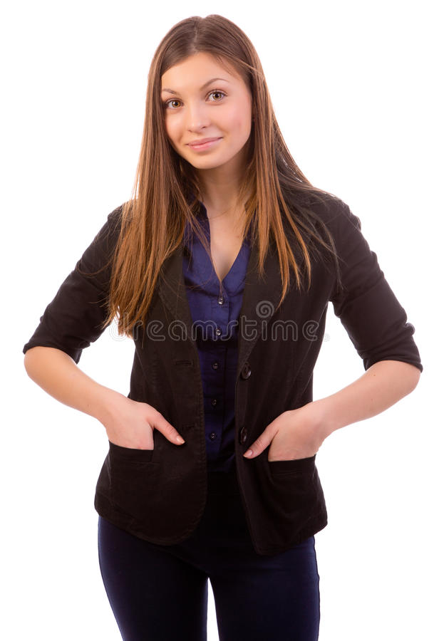 Donna di affari soddisfatta immagini stock libere da diritti