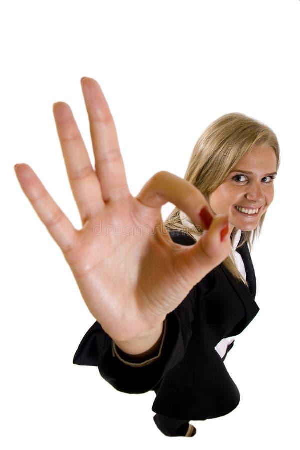 Donna di affari soddisfatta con i risultati immagine stock