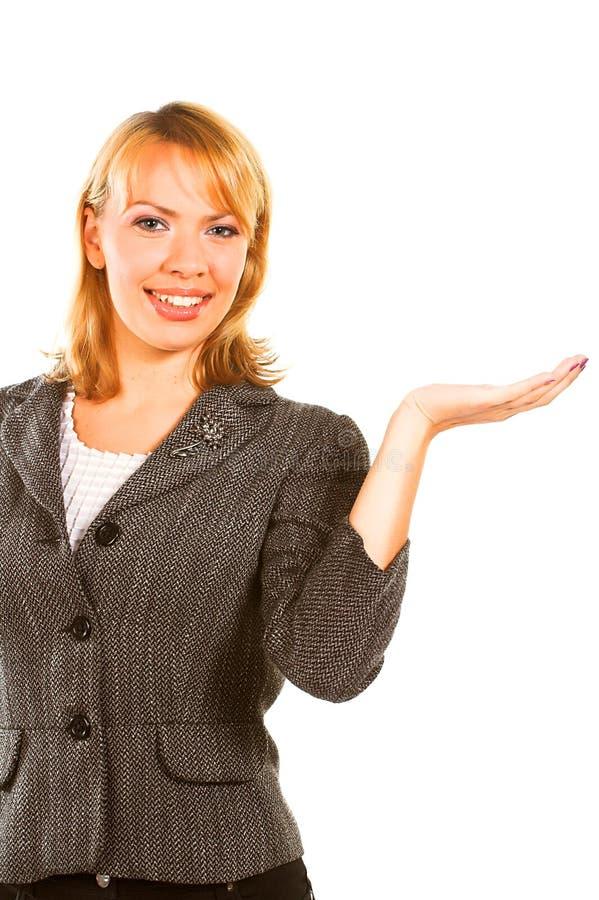 Donna di affari sopra priorità bassa bianca fotografia stock