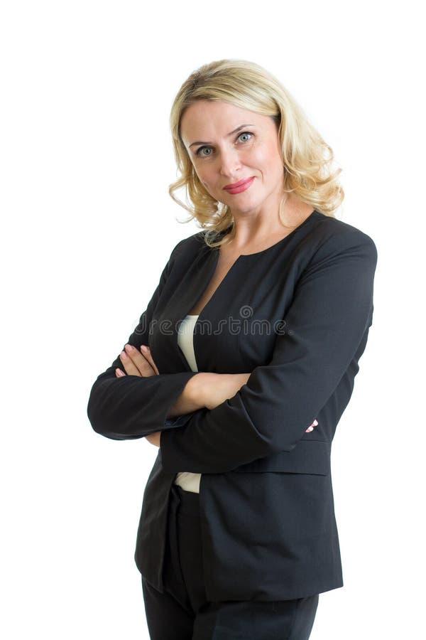 Donna di affari sorridente Isolato sopra bianco immagine stock