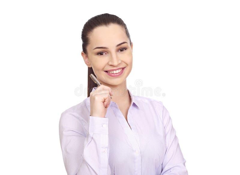 Donna di affari su bianco fotografia stock libera da diritti