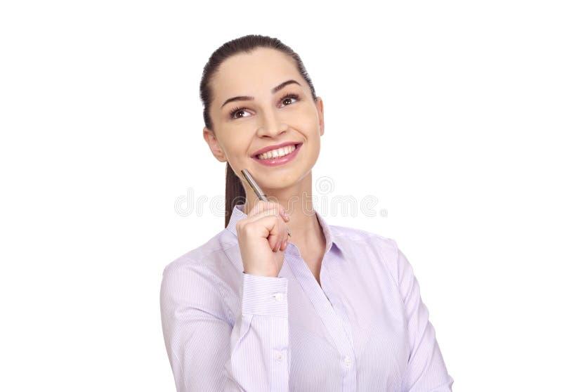 Donna di affari su bianco fotografie stock