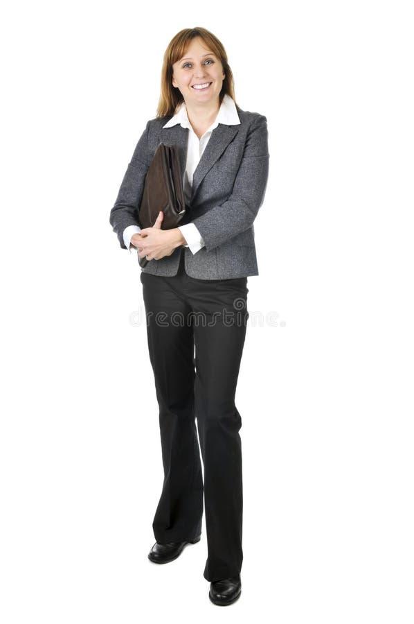 Donna di affari su priorità bassa bianca fotografia stock