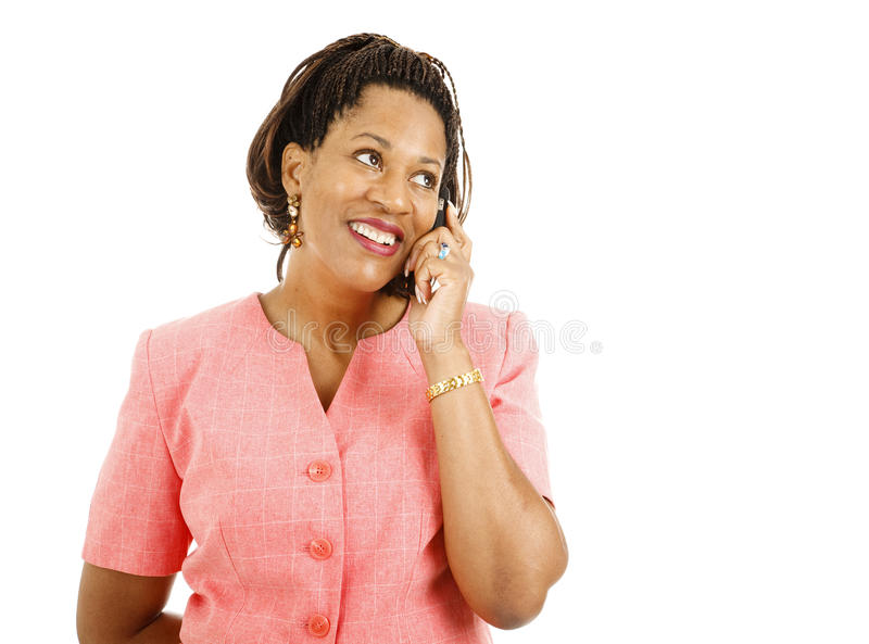 Donna di affari sul cellulare fotografie stock libere da diritti