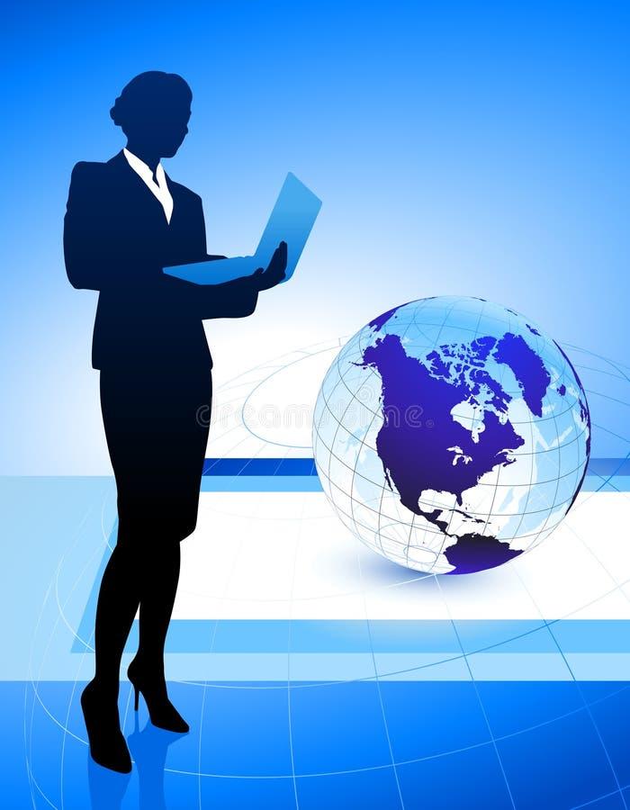 Donna di affari sul fondo astratto del globo illustrazione vettoriale
