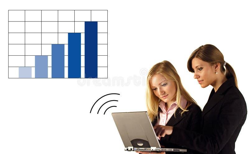 Donna di affari sul grafico del computer portatile fotografia stock libera da diritti