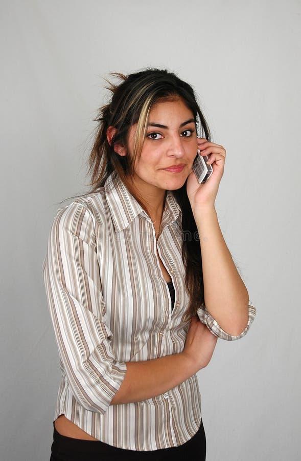 Donna di affari sul phone-6 fotografia stock