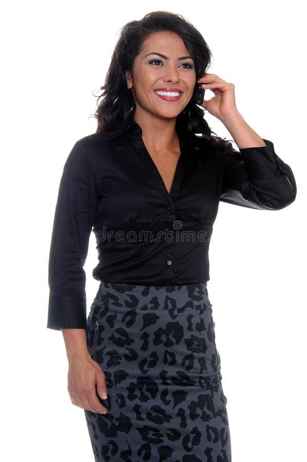 Donna di affari sul telefono delle cellule fotografia stock