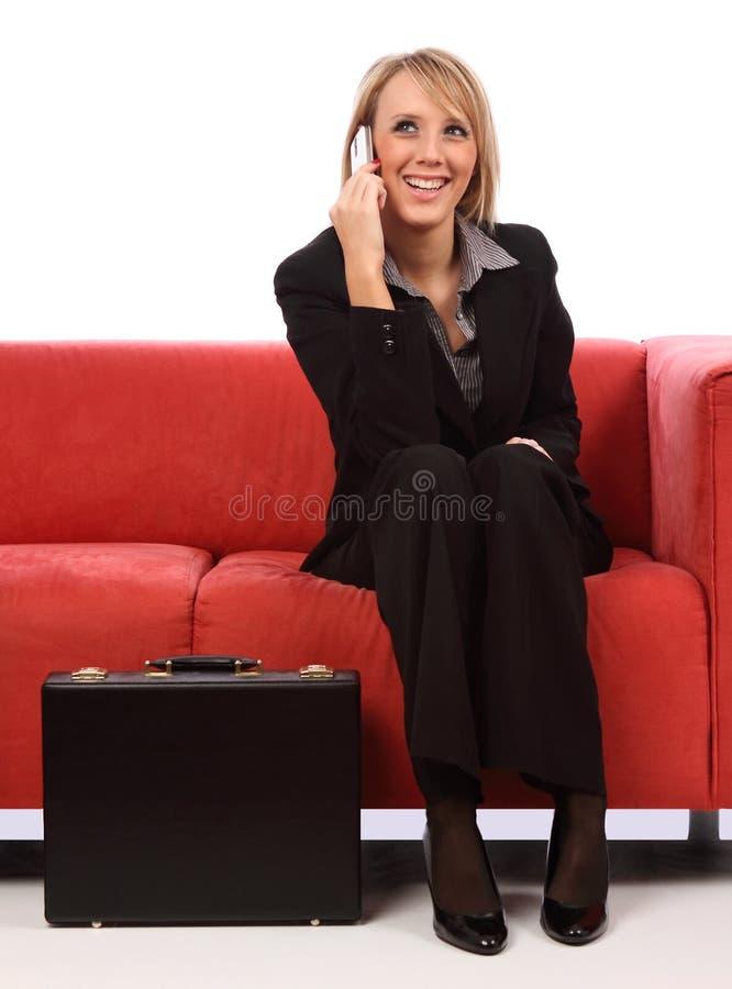Donna di affari sul telefono mobile fotografie stock libere da diritti