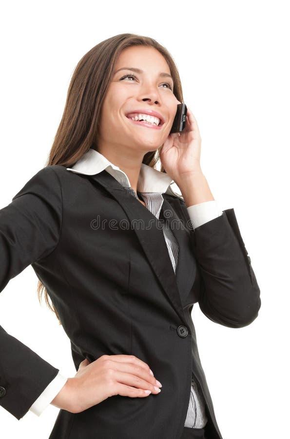 Donna di affari sul telefono mobile fotografia stock