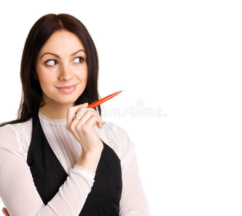 Donna di affari sveglia che indica con un indicatore immagini stock libere da diritti