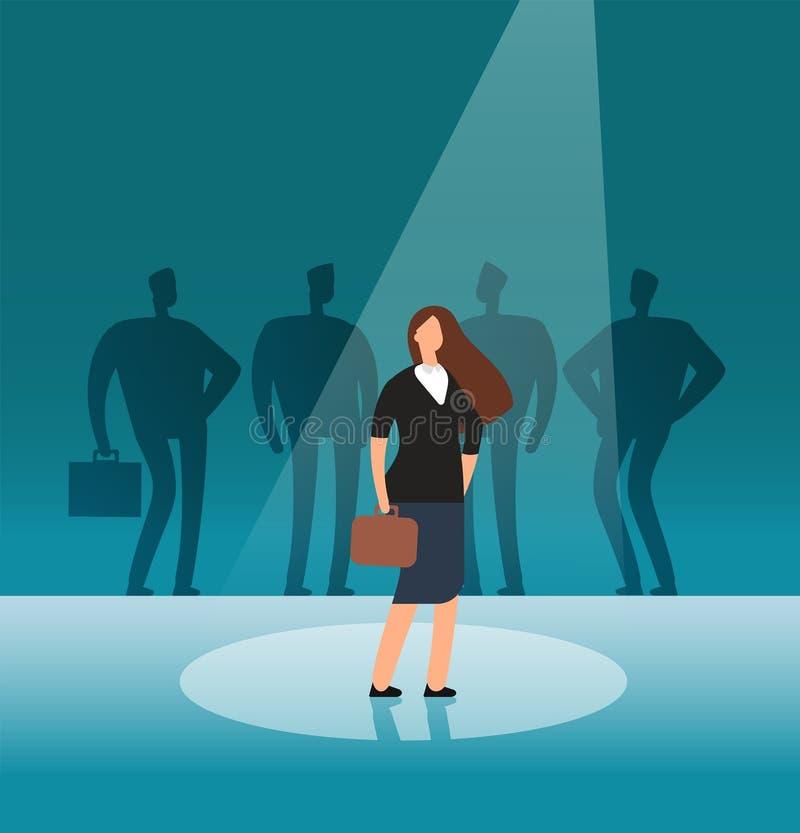 Donna di affari di talento che sta in proiettore L'assunzione, assumere, la carriera e le opportunità di lavoro vector il concett illustrazione vettoriale