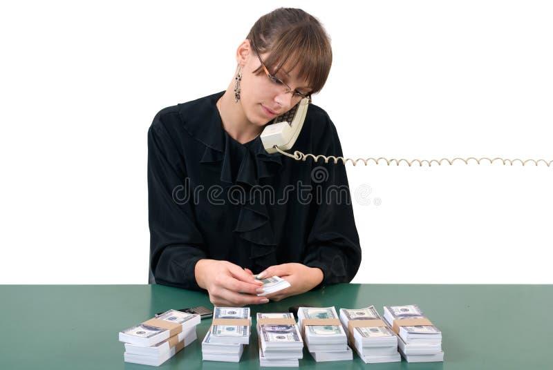 Donna di affari, telefono e soldi immagine stock libera da diritti