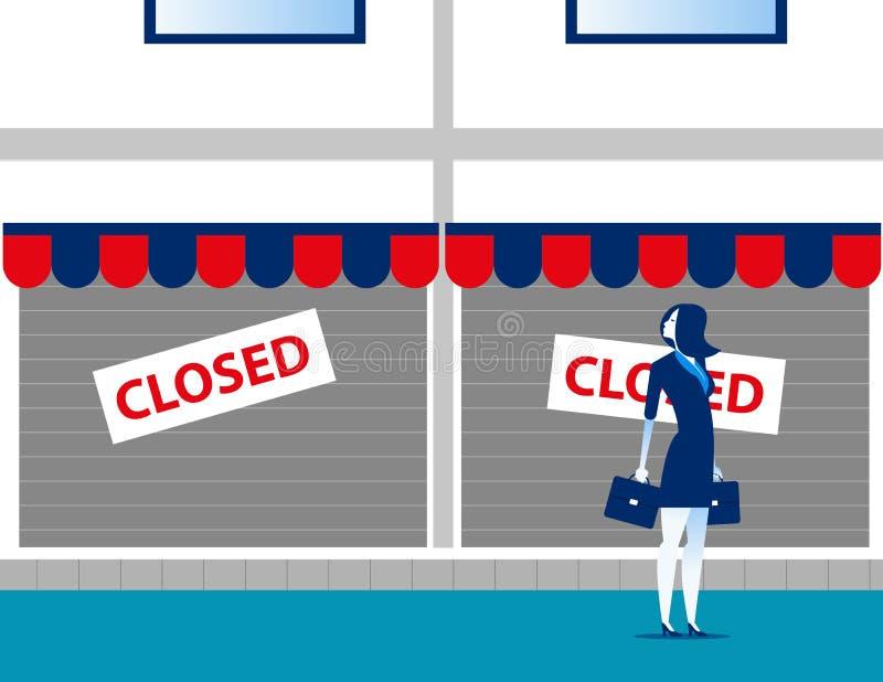 Donna di affari triste e che esamina il suo piccolo fallimento Illustrazione di vettore di affari di concetto royalty illustrazione gratis