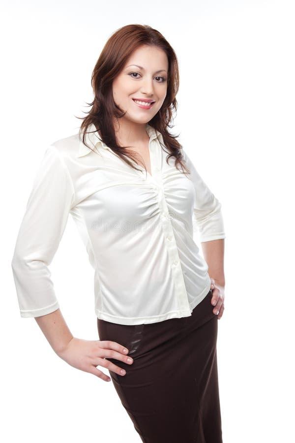 Donna di affari in una camicetta ed in un pannello esterno bianchi fotografie stock libere da diritti