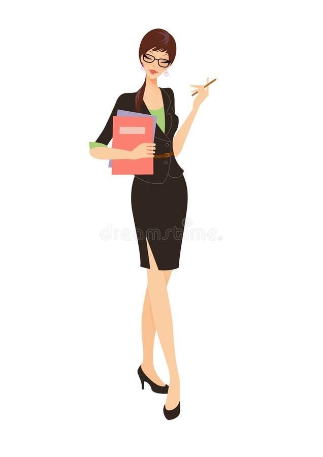 Donna di affari in vestito nero che tiene un dispositivo di piegatura illustrazione di stock