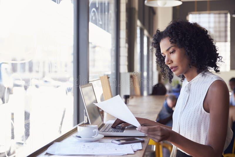 Donna di affari By Window Working sul computer portatile in caffetteria immagine stock libera da diritti
