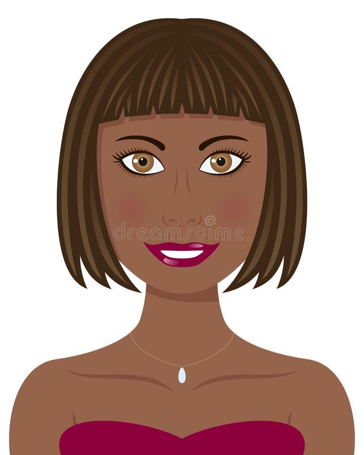 Donna di afro con i capelli e gli occhi di Brown illustrazione di stock