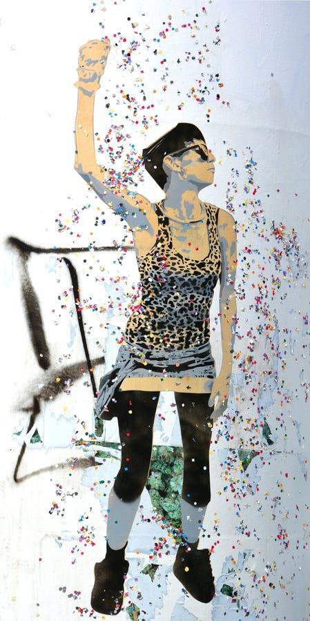 Donna di arte della via immagine stock