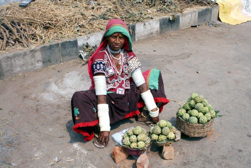 Donna di Banjara che vende la mela cannella sul bordo della strada fotografia stock libera da diritti