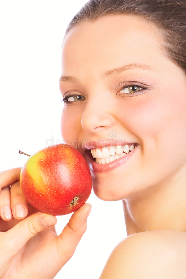 Donna di bellezza con la mela fotografia stock libera da diritti