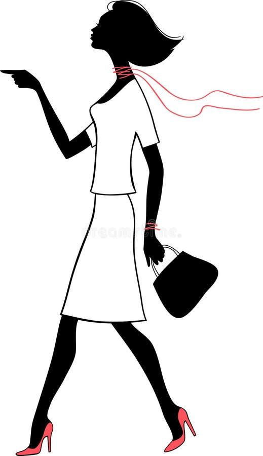 Donna di bellezza della siluetta con il sacchetto royalty illustrazione gratis