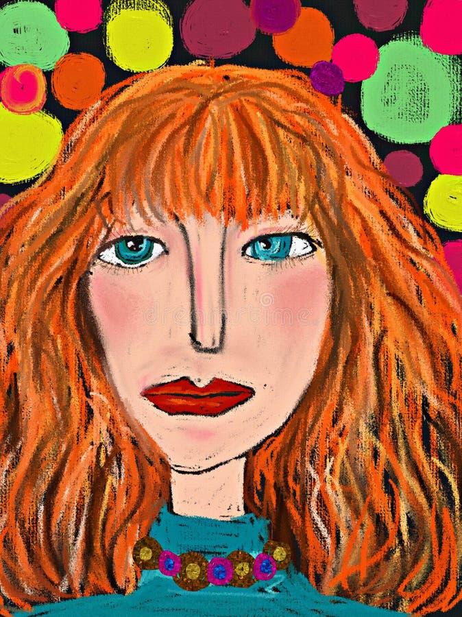 Donna di bellezza Illustrazione dell'annata della pittura Ritratto disegnato a mano dell'afro grazioso della ragazza sul fondo de illustrazione di stock