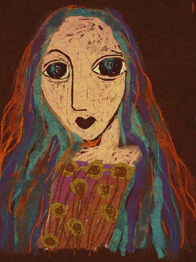 Donna di bellezza Illustrazione dell'annata della pittura Ritratto disegnato a mano dell'afro grazioso della ragazza sul fondo de royalty illustrazione gratis