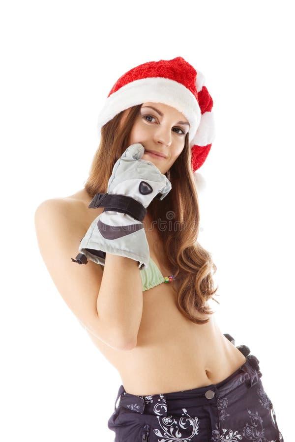 Donna di bellezza nel colpo del bikini del cappello della Santa fotografie stock libere da diritti