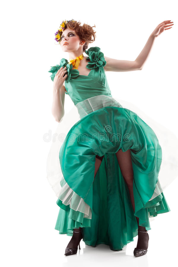 Donna di bellezza in vestito antiquato fotografia stock