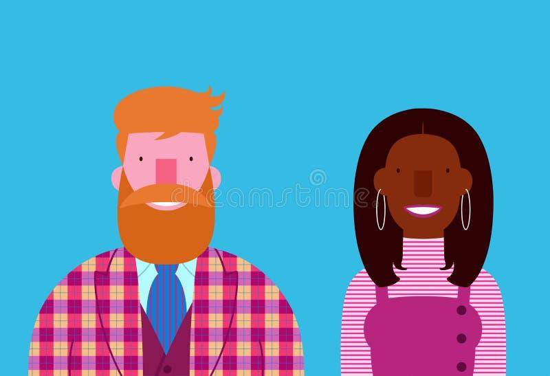 Donna di colore barbuta sorridente interrazziale elegante dell'uomo delle coppie illustrazione vettoriale