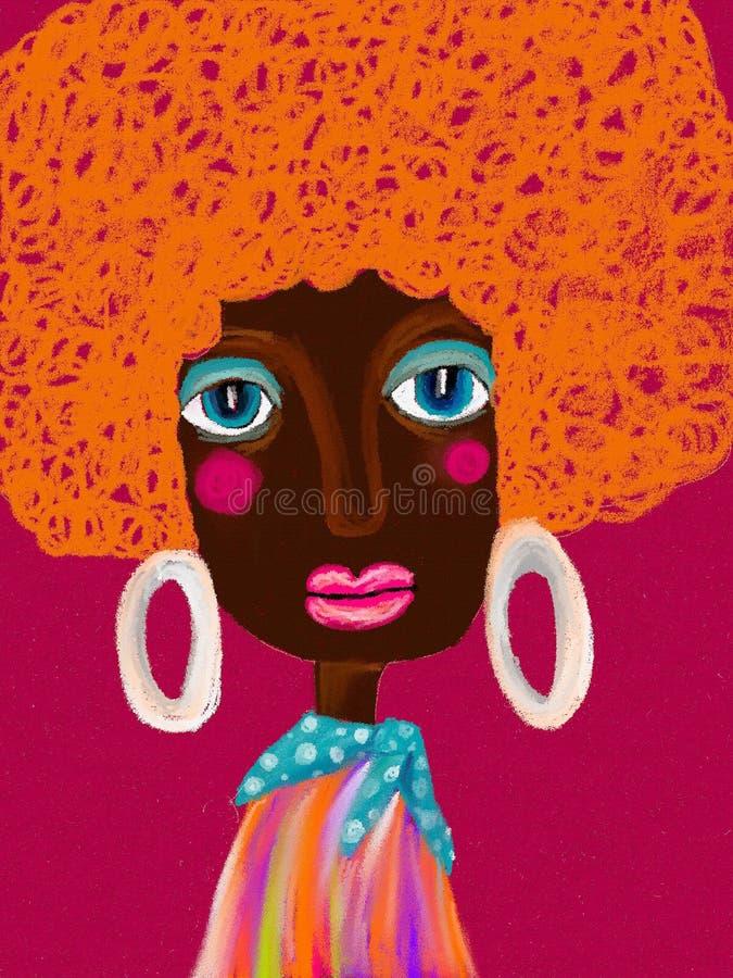 Donna di colore di bellezza Illustrazione dell'annata della pittura Ritratto disegnato a mano dell'afro grazioso della ragazza su illustrazione vettoriale