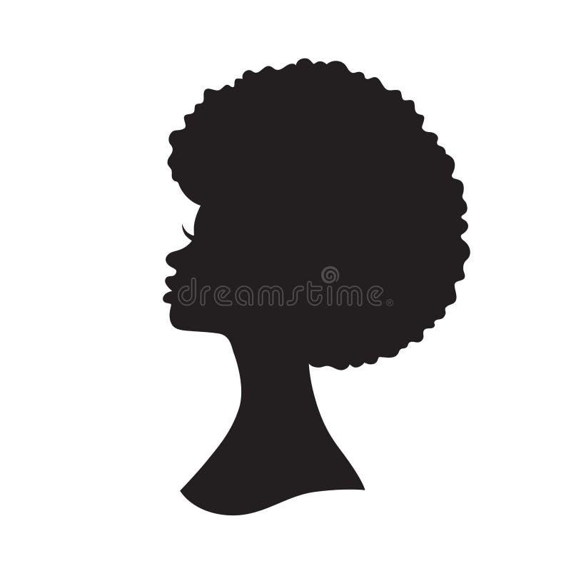 Donna di colore con l'illustrazione di vettore della siluetta dei capelli di afro