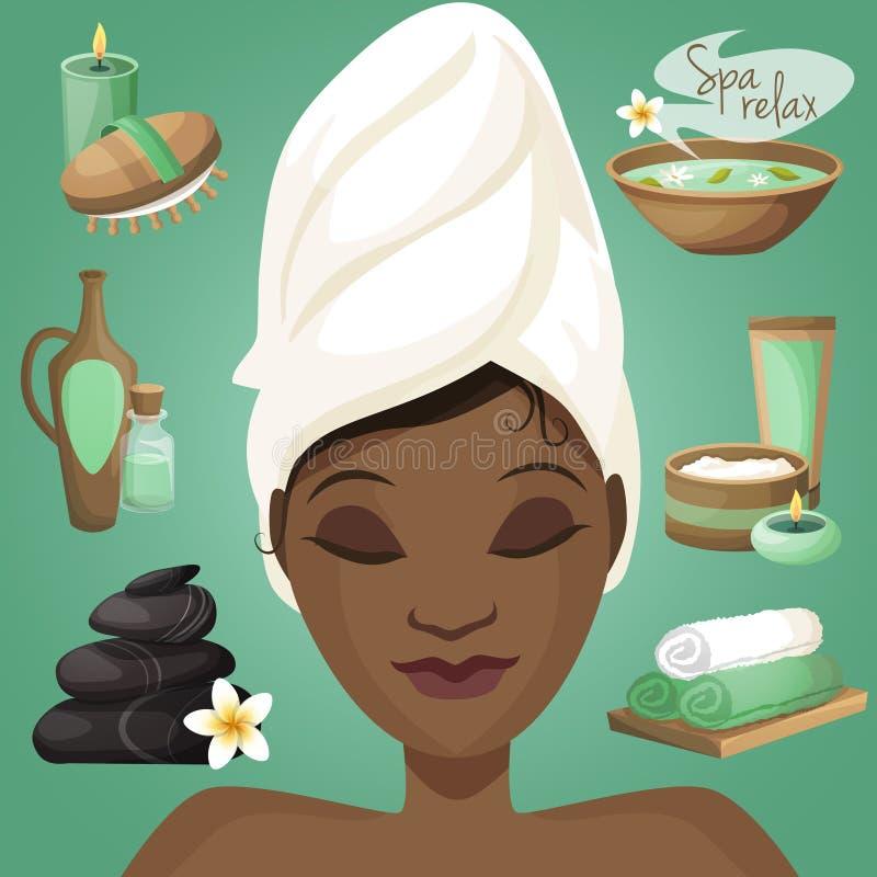 Donna di colore in stazione termale illustrazione vettoriale