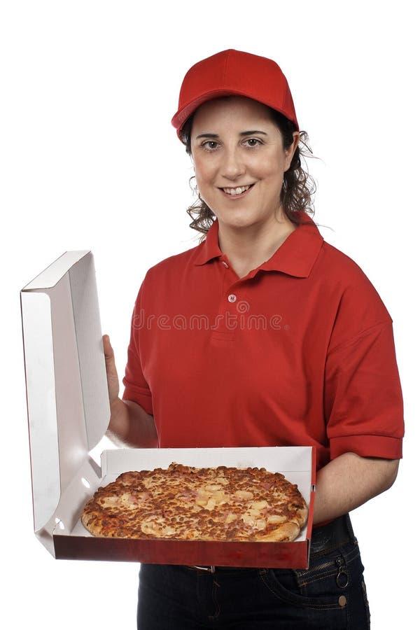 Donna di consegna della pizza fotografia stock libera da diritti