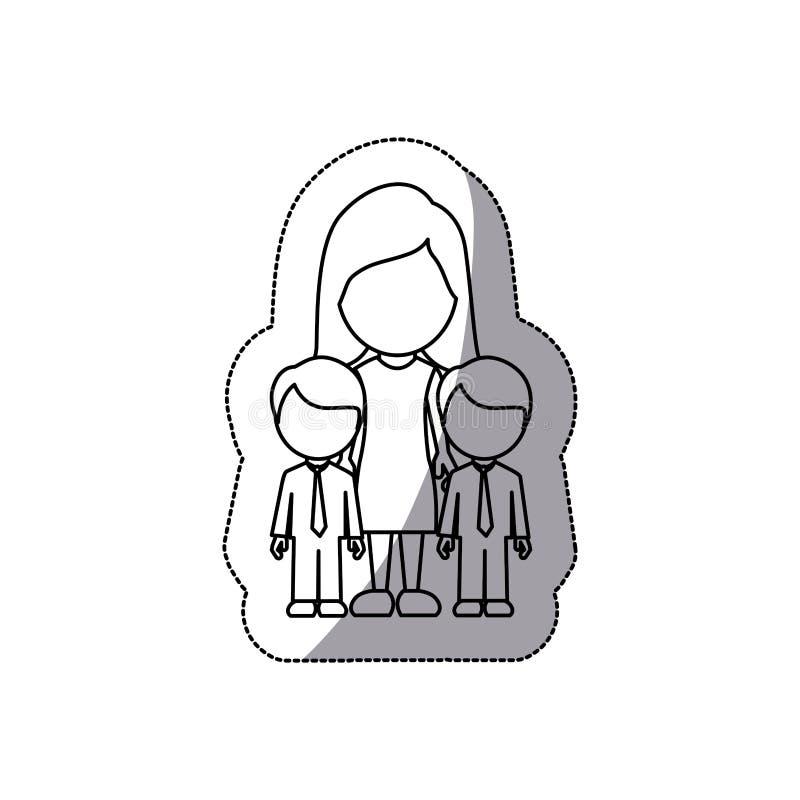 donna di contorno la sua icona dei gemelli dei ragazzi royalty illustrazione gratis