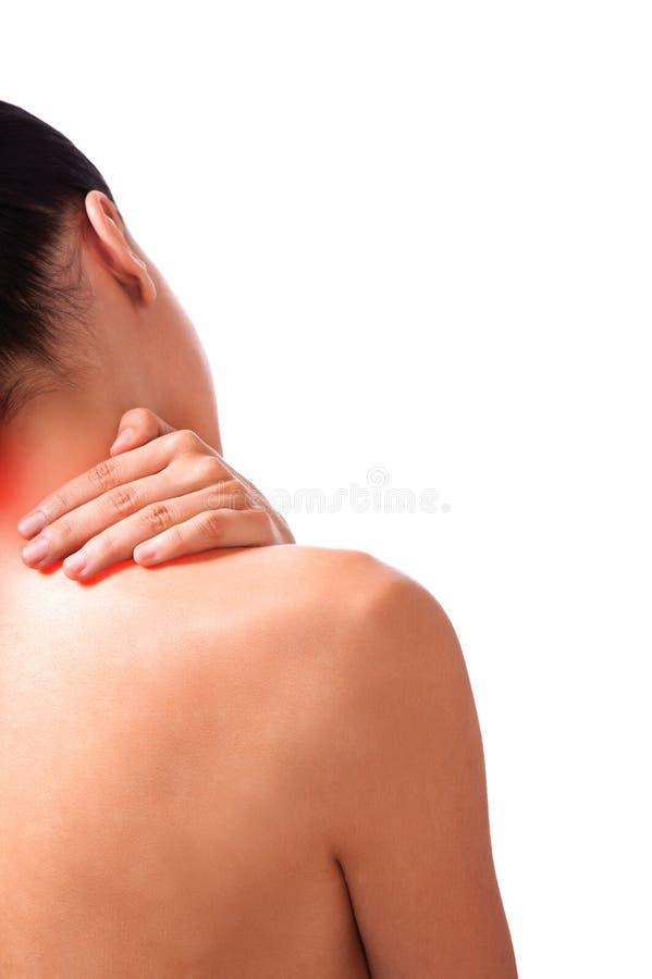 Donna di dolore al collo immagini stock libere da diritti