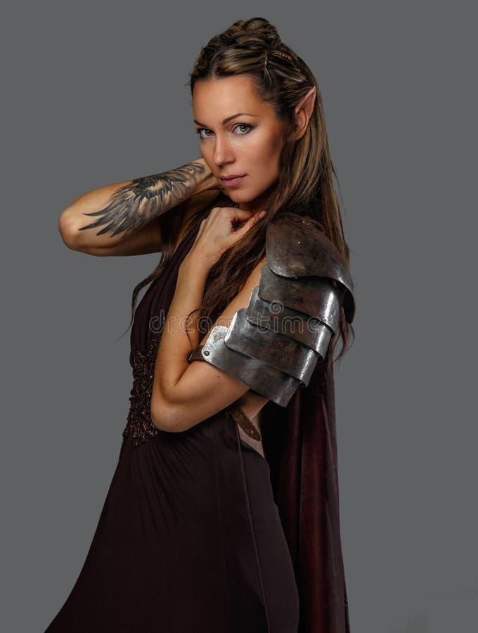 Donna di Elf in armatura fotografia stock libera da diritti