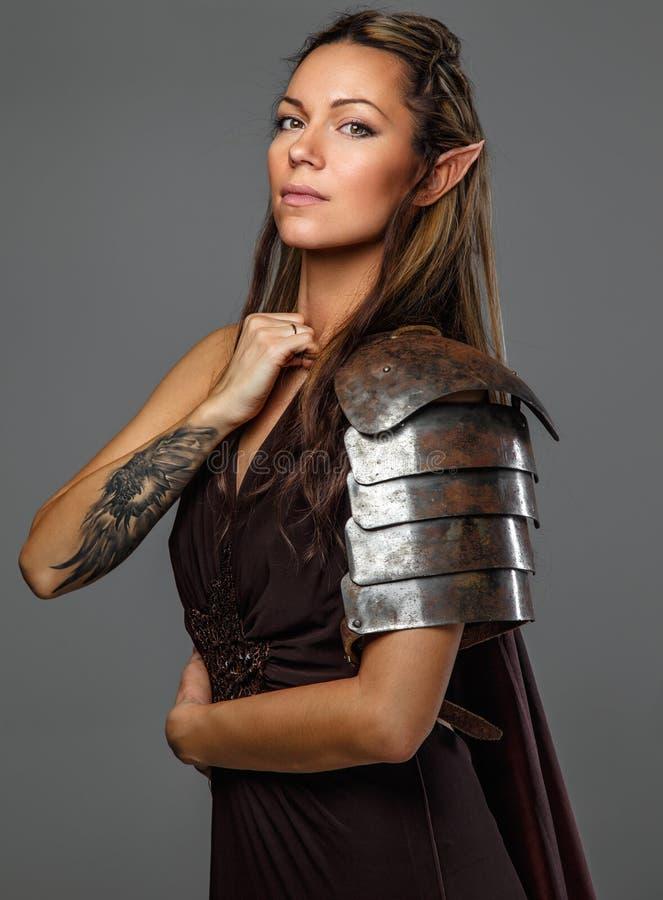 Donna di Elf in armatura fotografie stock